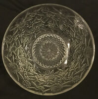 "Vintage Indiana Glass Floral Pressed Glass Bowl  7.5"" Diameter"