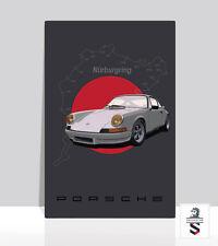 Porsche 911RSR Nurburgring. Art Poster on Aluminum. Garage sign 18x24