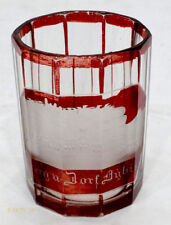 Antique BERG DORF GERMANY Etched RUBY CUT TO CLEAR Glass SOUVENIR TUMBLER