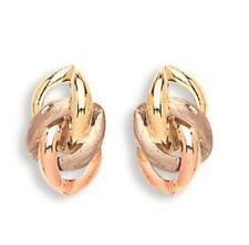 Solid 9ct Yellow White Rose Gold Fancy Knot 13mm Stud Earrings 1 7g Gift Boxed