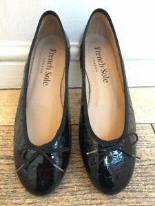 French Sole Henrietta Black Patent Croc EU 42/ UK 9