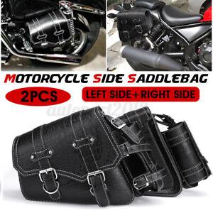Pair Motorcycle Saddlebag Bag Side Storage W/ Bottle Holder Leather Cafe Racer
