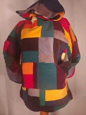 Patchwork one of a kind Small Rainbow Corduroy Festival Hoodie unisex hippie fun