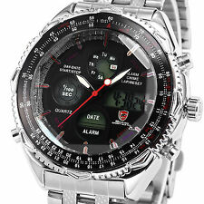 SHARK Mens Sport Army Wrist Watch Digital Chronograph Day Stainless Steel Quartz