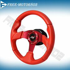Steering Wheel Type 320 mm Red With Horn JDM Logo Universal For Most Car