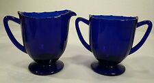 New Martinsville Addie aka 12 Point Cobalt Blue Creamer and Sugar Bowl