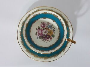 Aynsley England Bone China Cup and Saucer Floral Teal Gold Trim