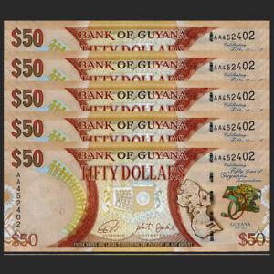 Lot 5 PCS, Guyana 50 Dollars, 2016, P-41, Prefix AA, 50th COMM., Banknotes, UNC
