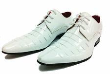 Italian Design Mens Patent Leather Look Spats Brogues Lace Up Shoes White 8-11