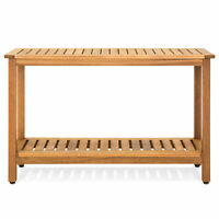 BCP 48in 2-Shelf Wood Console Table Storage Organizer w/ Natural Finish