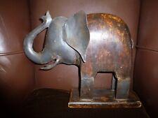 Vintage Old Large Metal & Wood Elephant Sculpture on a Wood base Patina Indian