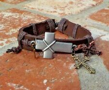 SILVER COPPER GOLD CROSS ES & LEATHER ADJUSTABLE LADIES BRACELET FREE SHIPPING