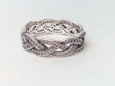 NEW Authentic PANDORA Silver Sparkling BRAID Ring 190913CZ size 6, 7, 7.5 or 8.5