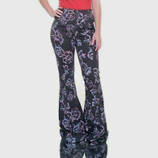FREE PEOPLE 0 2 NWT Gray Floral Front Zip Bell Bottom Flare Pants Jeans Hippie