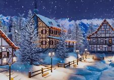 A1 Alpine Mountain Town Poster Art Print 60 x 90cm 180gsm Snow Cool Gift #16516