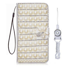 Bling Crystal fashion Leather slots Wallet Flip Protective Case Cover & strap #v