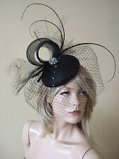Negro Plumas & Cristales velada Fascinator de la casco con crin Remolinos Ascot MV177