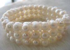 3rows freshwater pearl white round 7-8mm bracelet wholesale nature amazing