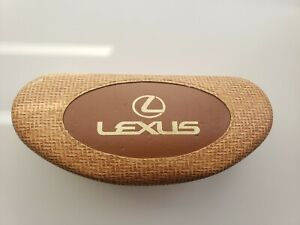 LEXUS Logo Maui Jim Sunglasses Eyeglasses Worn Clam Shell Case Brown Crosshatch