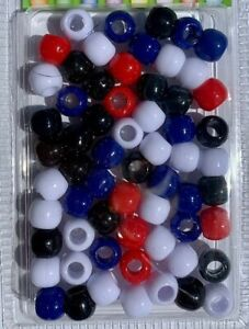 Tommy Style (Red, Black,Blue,White) med beads for braids, twists, locs, crafts