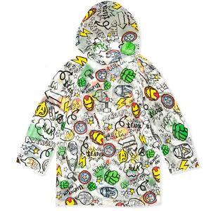 Avengers Marvel TRANSPARENT Boys Rain Coat Hooded Poncho Waterproof Jacket 3-9