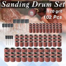 102pcs Sanding Drum Band Mandrel 1/2'' 3/8'' 1/4'' 120 Grit Rotary Tool Kit