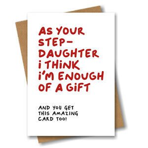Birthday Card for Stepmum or Stepdad - A Gift from Stepdaughter - Funny Joke