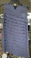 ALYX Women's Ruffle Tank Sleeveless Top Size L Periwinkle New Lace