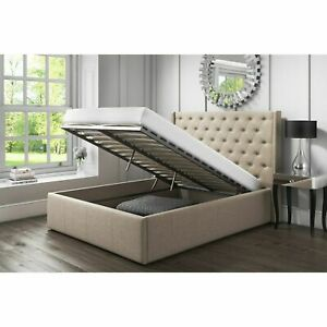 LINEN FABRIC OTTOMAN BED FRAME - END LIFT UP BED - GREY - SLATE - ALL SIZES