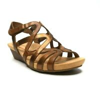 Rockport Womens Sable Caged Leather Sandals 8 M Cushioned Insole Brown NEW