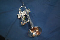 F.E. Olds Ambassador trumpet in silver plate with Mouthpiece and case