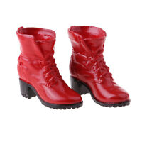 """1:6 Scale Female Short Canister High Heel Boots for 12"""" Figure Action Red"""