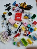 Huge Lot 50+ Items Vintage Miniature Dollhouse Furniture Animals Street Lamps