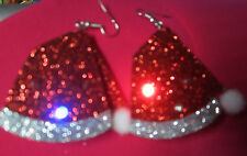 Unique BIG Ugly Sweater 925 Earrings Tacky SANTA HAT Blinking Matching Christmas