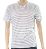 Alfani White Black Mens Size Medium M Striped Stretch V-Neck T-Shirt $40 219