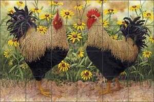Matcham Rooster Art Ceramic Tile Mural Backsplash Kitchen Art RW-MM014