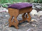 Antique Early 1900s Craftsman Arts and Crafts Mission Solid Oak Footstool Stool