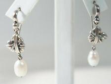"""Barry Kieselstein 925 Silver Freshwater Pearl """"Mended Heart"""" Drop Wire Earrings"""