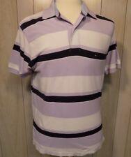 Tommy Hilfiger Men's Polo Shirt Size M Short Sleeves Purple Blue White Stripes