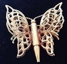 Butterfly Brooch Pin Vintage Filigree Gold Tone