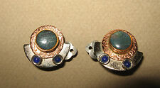 """Hand Crafted MIXED METAL & STONES CLIP-ON EARRINGS  1"""" diameter"""