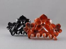 Brown Black 2 hair clips flower plastic barrette jaw claw clamp clip set pack