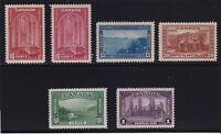Canada Sc #241-5 (1938) KGVI Pictorial Set + Shades Mint VF NH MNH