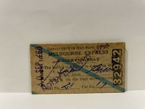 NSWGR Railway Melbourne Express Reserved Seat Ticket 1960