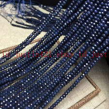 2x4mm Natural Faceted Dark Blue Sapphire Rondelle Gemstone Loose Beads 15""