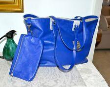 New $675 Auth Longchamp Paris LM Cuir COBALT Blue Zip Shoulder Tote Bag w Pouch