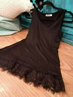 BOUTIQUE Black Lace Hem Layering Tunic Tank Top Boho Womens Extender Slip Cami