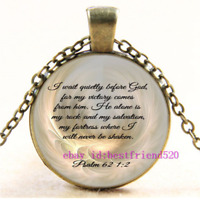 Bible 1:2 Cabochon Glass Pendant Chain Necklace,Christmas Jewelry,Christian Gift