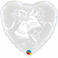 """WEDDING PARTY SUPPLIES BALLOON 18"""" WEDDING BELLS SILVER & WHITE FOIL BALLOON"""