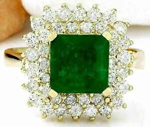 2Ct Princess Cut Green Emerald Double Halo Engagement Ring 14K Yellow Gold Over